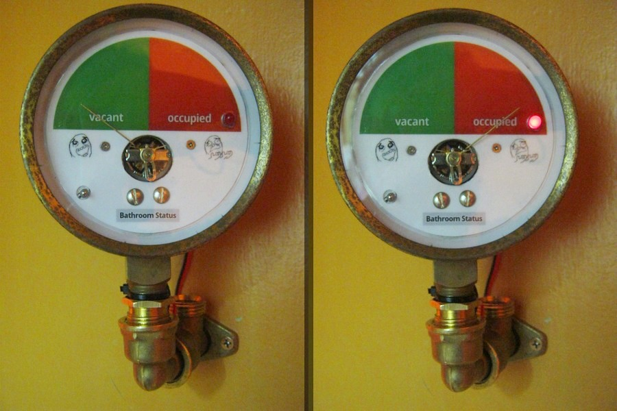 Repurposed pressure gauge bathroom door indicator